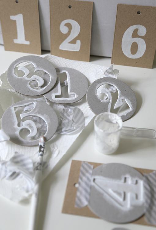 Tischnummer, Stempellook, Kraftpapier, Schablonen