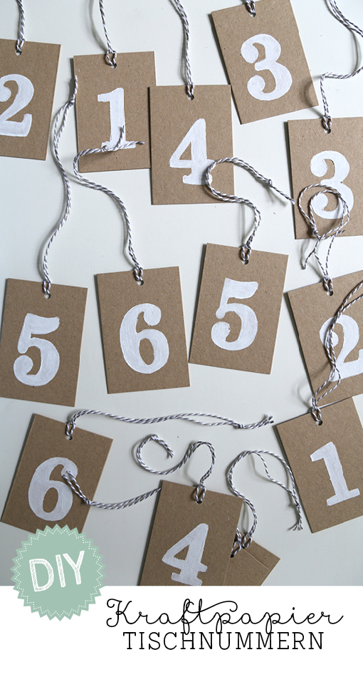 DIY, Hochzeit, Tischnummern, Kraftpapier