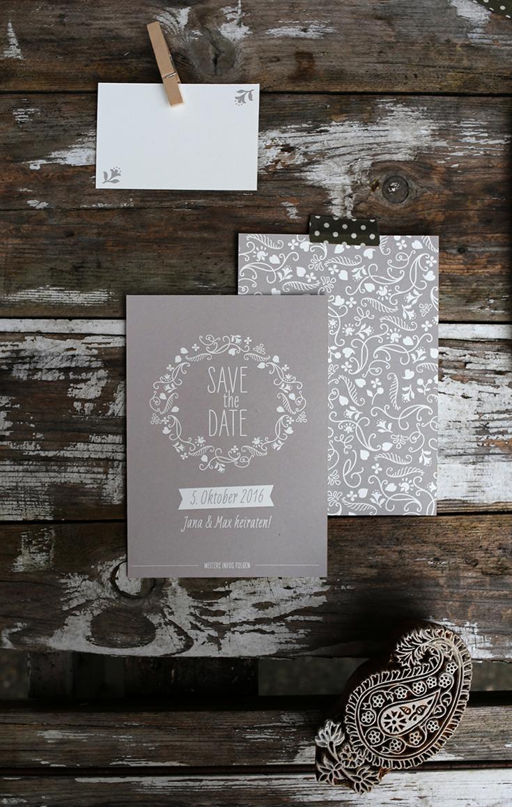 Hochzeitspapeterie, Vintage, Siebdruck, Kraftpapier