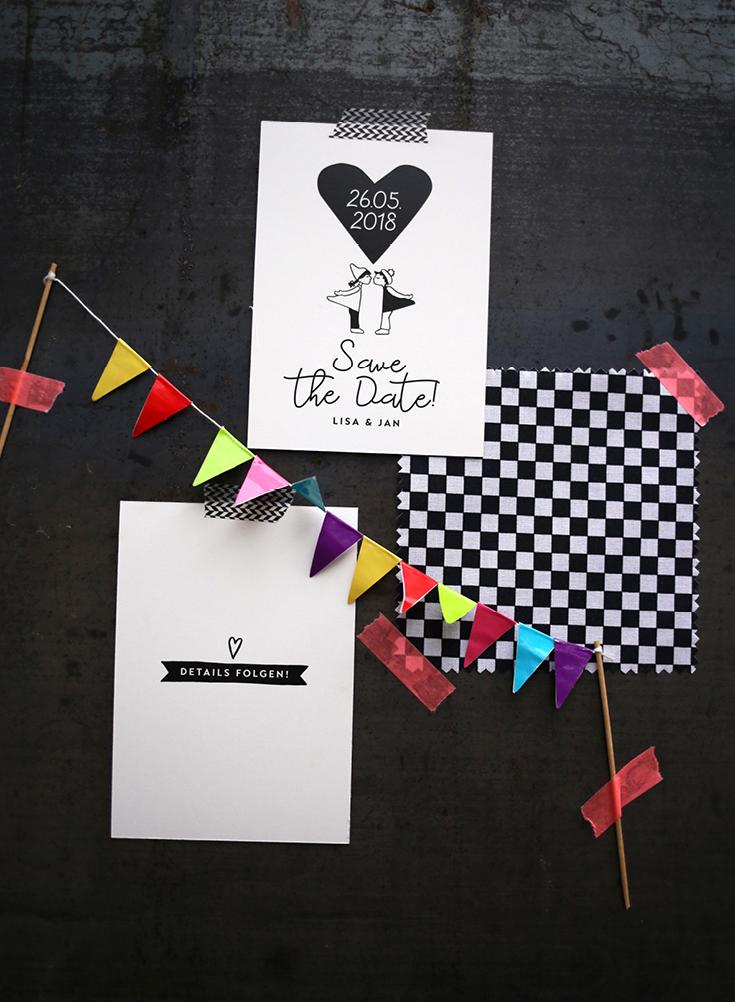 Hochzeitspapeterie, Sketchnotes, Kissing Dolls, Kussmännchen, Save the Date, Black & White, Ehe für alle