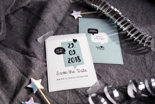 Save-the-Date, Mint, Sprechblase, Modern Wedding, Herzlichst