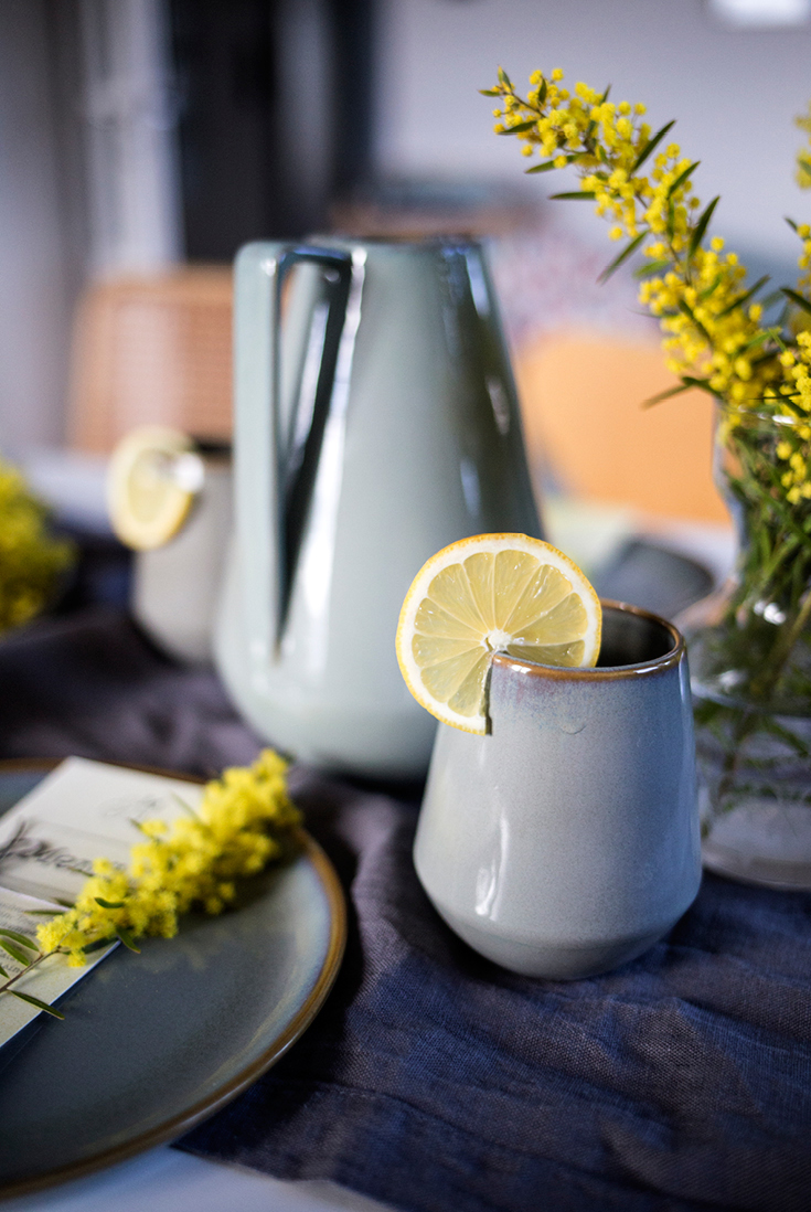 Ferm Living, grau gelb, Mimosen, Kaffeetisch